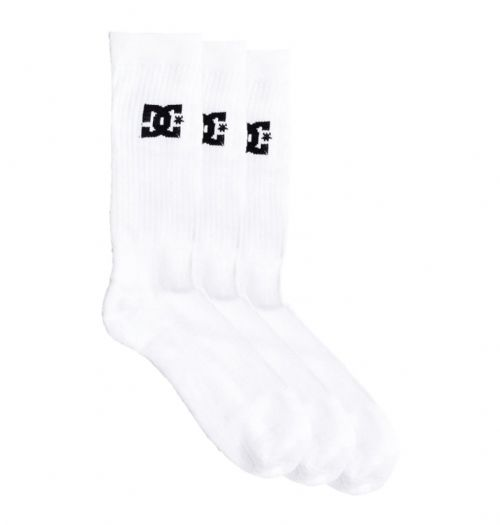 DC SHOES MENS SOCKS.NEW 3 PACK CREW CALF LENGTH WHITE SOCK UK 7-10 8W 149 WBBO